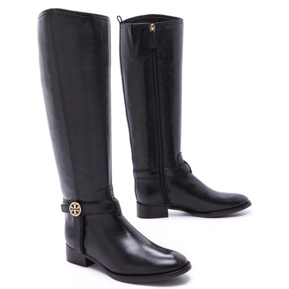 3b8e85cac4ff6 spain nwt tory burch bristol black leather riding boots cccf1 40962